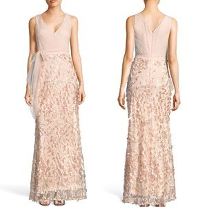 Adrianna Papell Petal Tulle Blush Gown Size 2